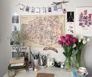 room, decor, and flowers image