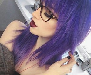 hair, purple, and glasses image