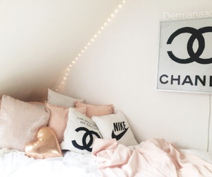 bed, black, and chanel image