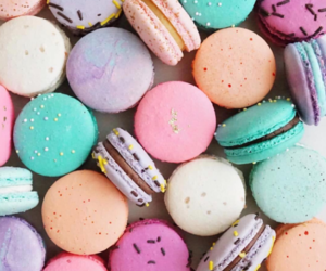 macarons, blue, and food image