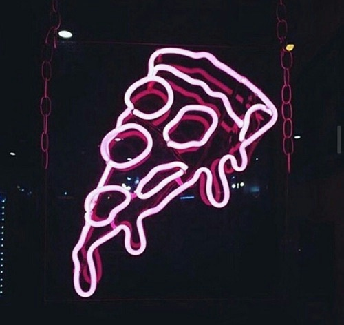 pizza, pink, and neon image