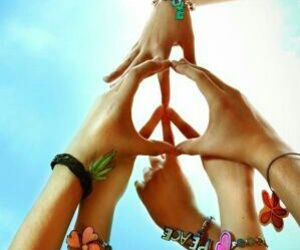 peace, peace sign, and friends image