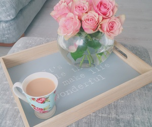cuppa, fishbowl, and flowers image