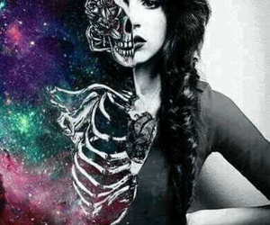 girl, skeleton, and galaxy image