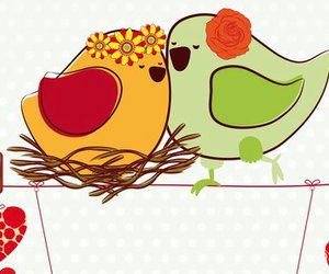 amor, birds, and heart image