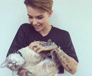 cat, ruby rose, and tattoo image