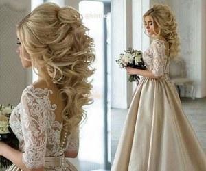 dress, wedding, and hair image