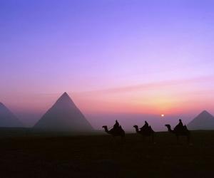 egypt, pyramid, and sunset image