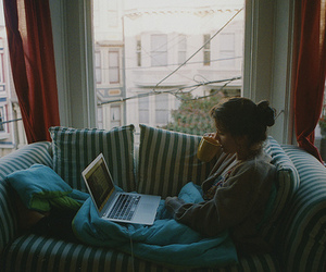 girl, coffee, and computer image