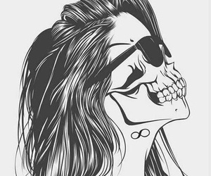 girl, skull, and drawing image