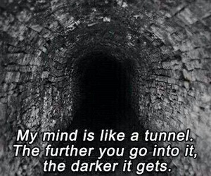 dark, tunnel, and mind image