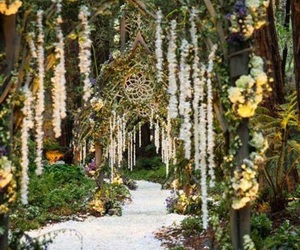 wedding, forest, and flowers image