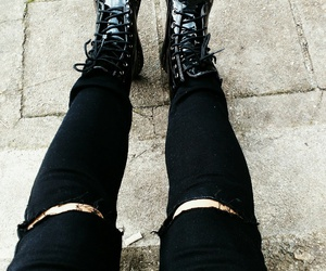 black, boots, and clothers image