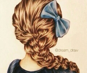 bow, drawing, and hair image