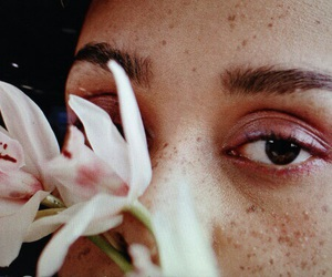 beige, eyes, and flowers image