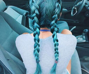 beauty, braids, and dyed image