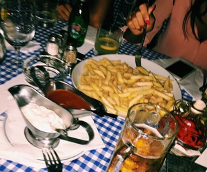 beer, delicious, and fries image