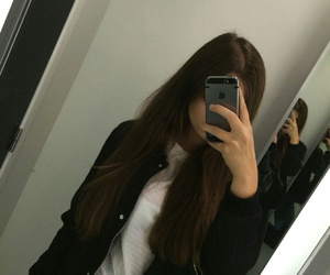 brunette, iphone, and selfie image