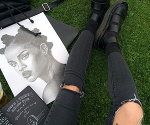 black, rihanna, and art image