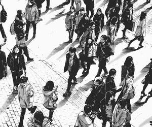 black and white, crowd, and oyasumi punpun image