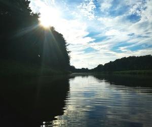nature, river, and sundown image