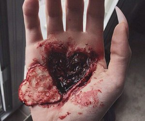 heart, blood, and hand image