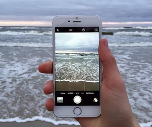iphone, beach, and ocean image