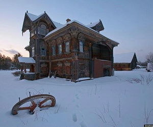 snow, abandoned, and architecture image