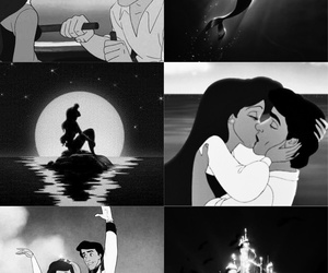 ariel, black and white, and disney image