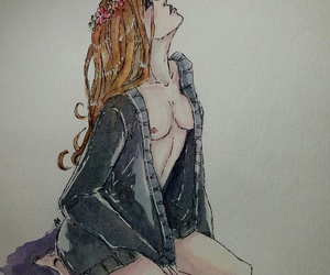 art, watercolor, and body image