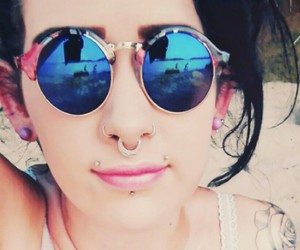 lips, sunglasses, and Piercings image