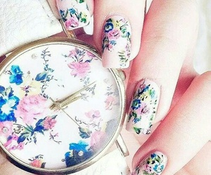 nails, flowers, and watch image