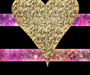 glitter, gold, and heart image