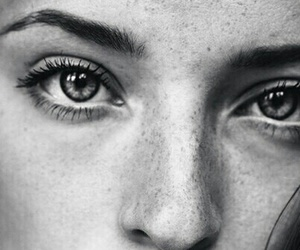 black and white, eyes, and girl image