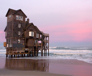 house, beach, and sea image