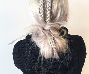 blonde, blonde hair, and braided image