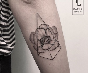 black, black ink, and flower image