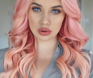 makeup, hair, and lipstick image