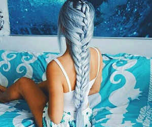 blue, braids, and girl image