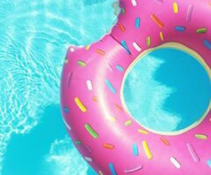summer, pool, and donut image