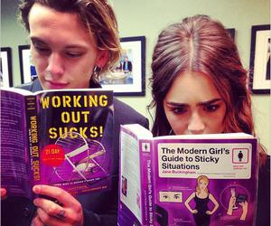 lily collins, Jamie Campbell Bower, and book image