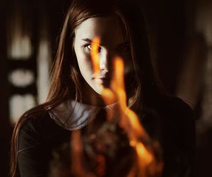 fire, dark, and girl image