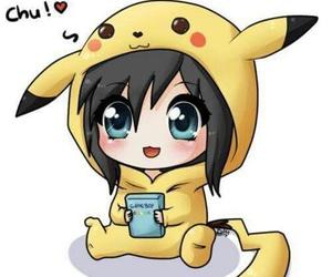 pikachu, anime, and chibi image