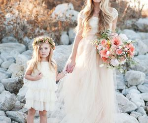 tulle, colored wedding, and mom and girls image