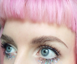 pink, eyes, and glitter image