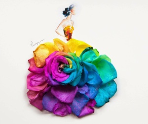 flowers, dress, and art image