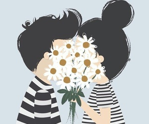 love, flowers, and couple image