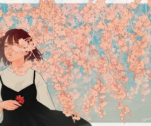 anime girl and flower image