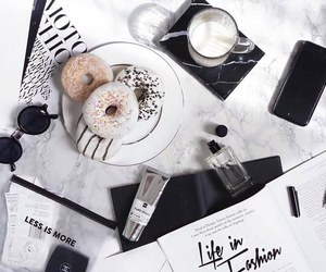 black, donuts, and food image