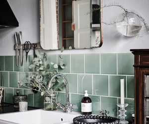 bathroom, green, and tiles image